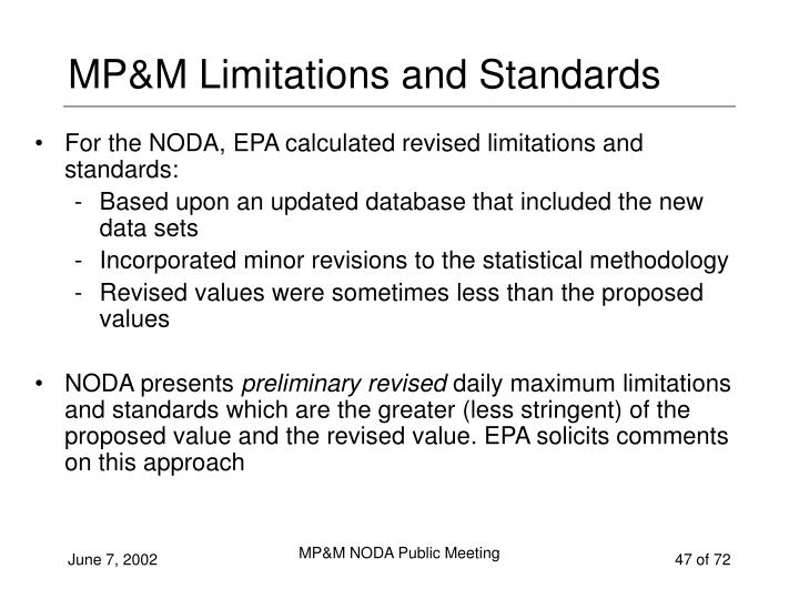 MP&M Limitations and Standards