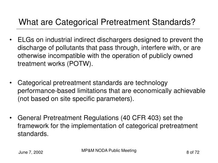 What are Categorical Pretreatment Standards?