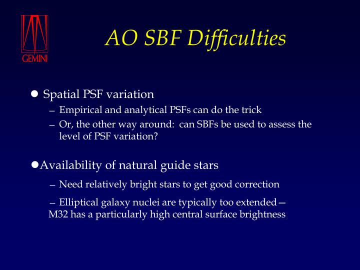 AO SBF Difficulties
