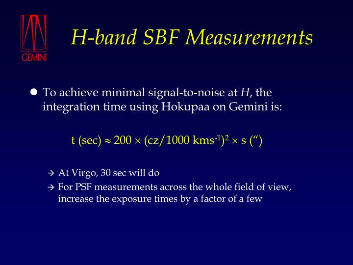 H-band SBF Measurements