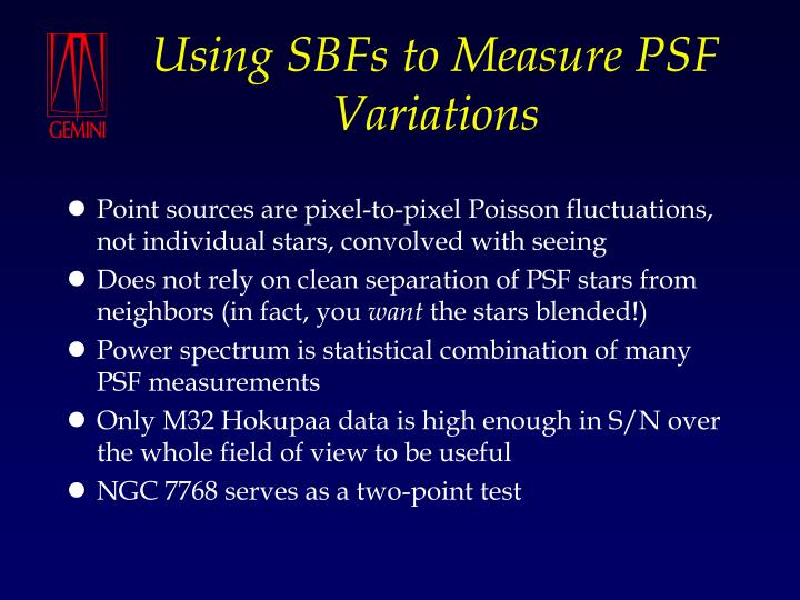 Using SBFs to Measure PSF Variations