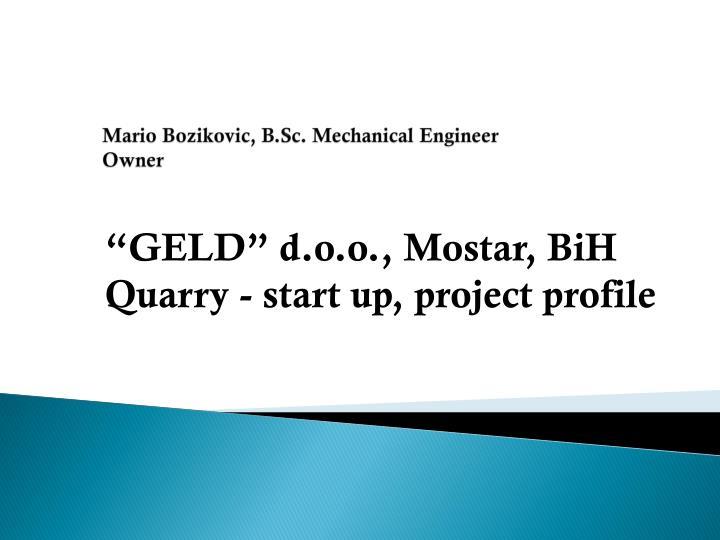 Mario bozikovic b sc mechanical engineer owner