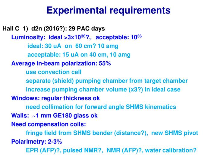 Experimental requirements
