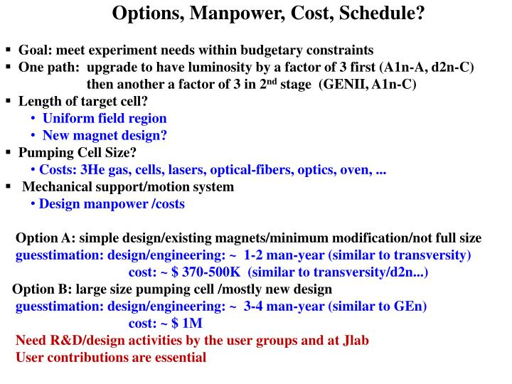 Options, Manpower, Cost, Schedule?