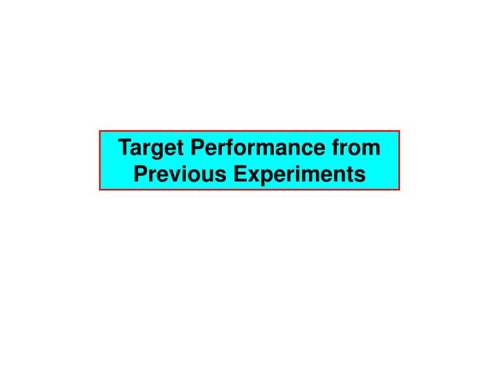 Target Performance from