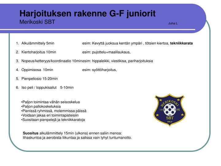 Harjoituksen rakenne G-F juniorit