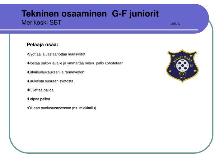 Tekninen osaaminen  G-F juniorit