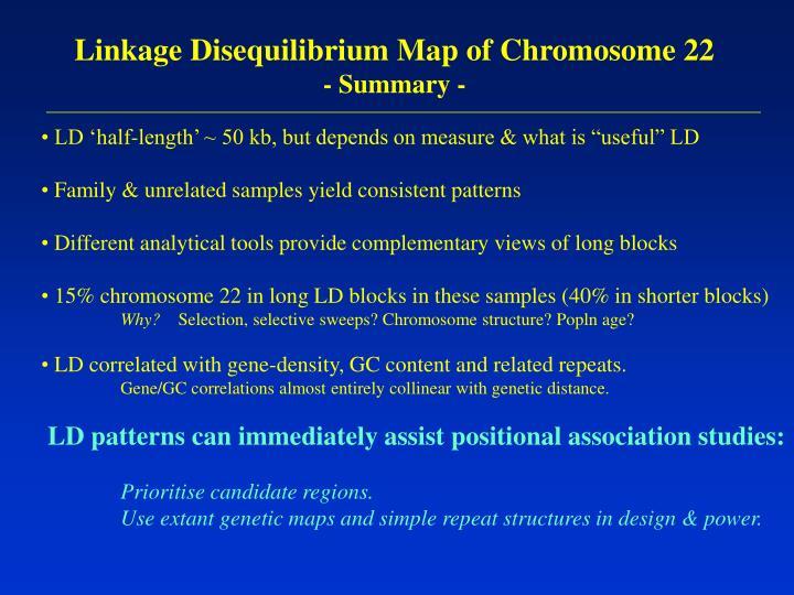 Linkage Disequilibrium Map of Chromosome 22