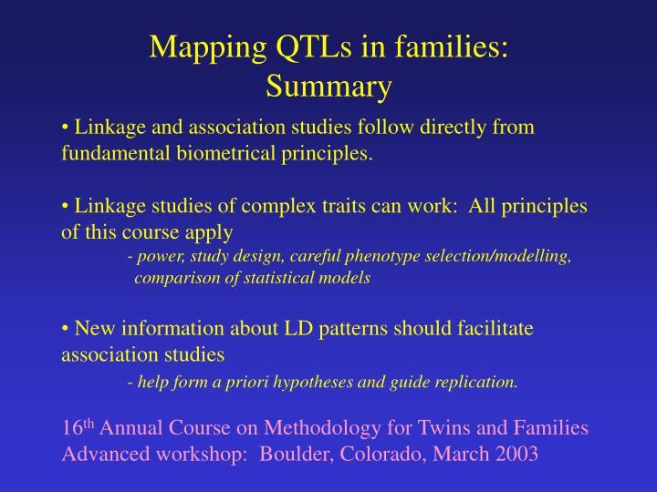 Mapping QTLs in families: