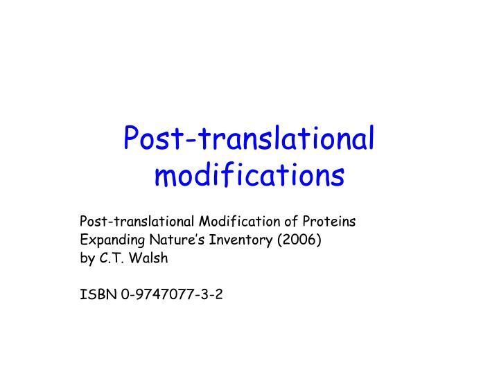 post translational modifications n.