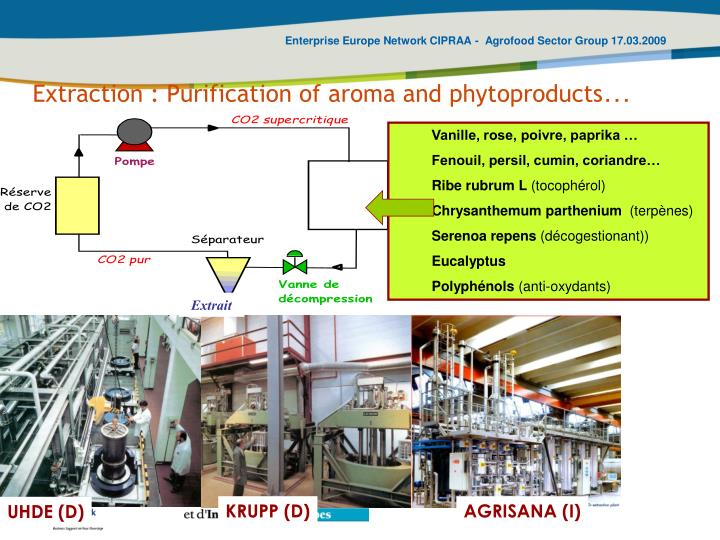 Extraction : Purification of aroma and phytoproducts