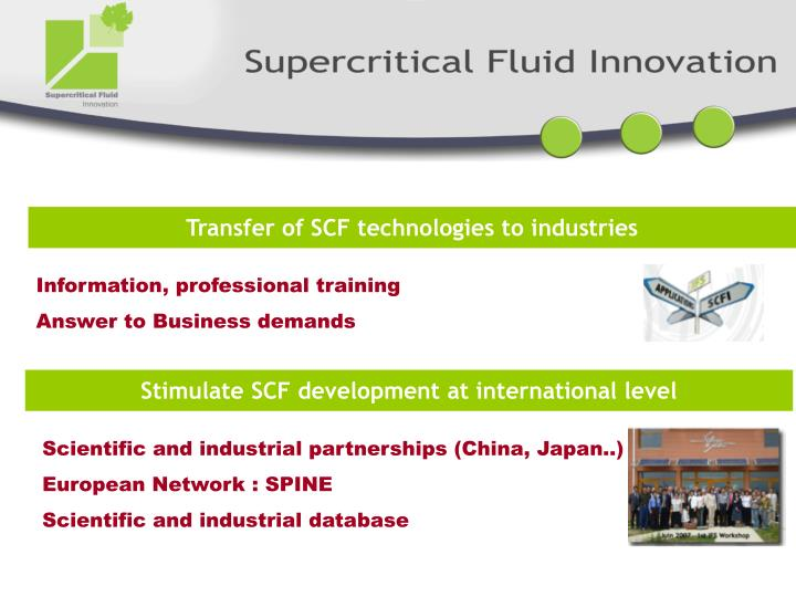 Transfer of SCF technologies to industries