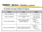 tango device interface commande1