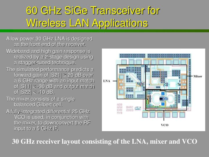 A low power 30 GHz LNA is designed as the front end of the receiver.