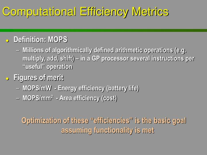 Computational Efficiency Metrics