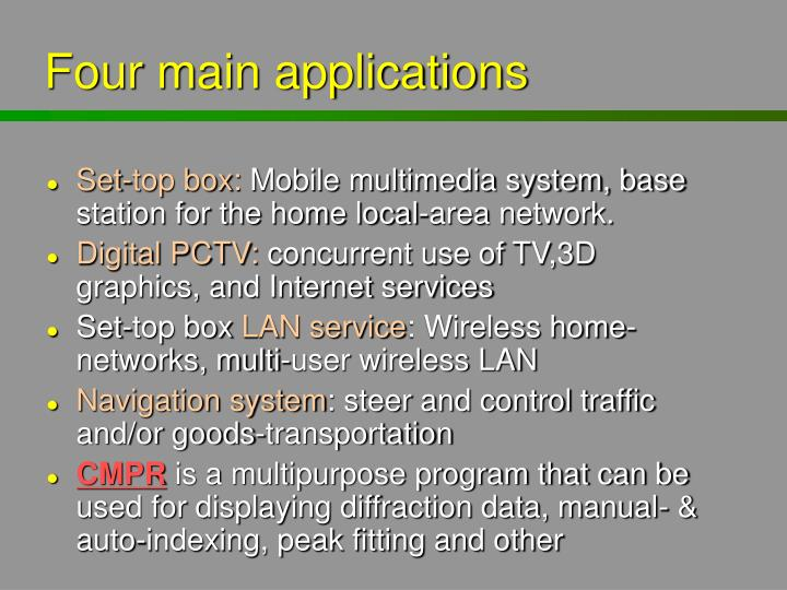 Four main applications