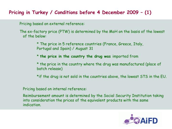 Pricing in Turkey / Conditions before 4 December 2009