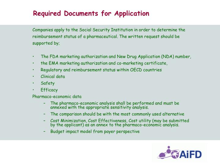 Required Documents for Application