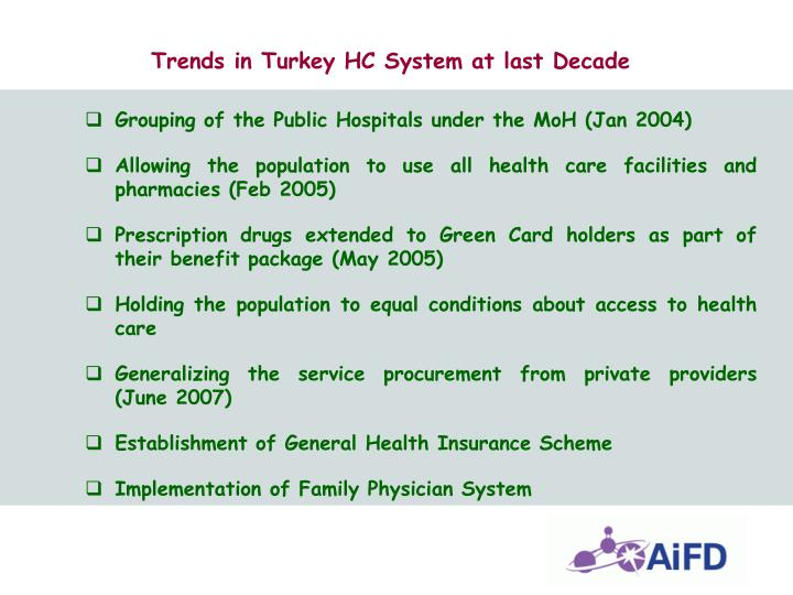 Trends in Turkey HC System at last Decade
