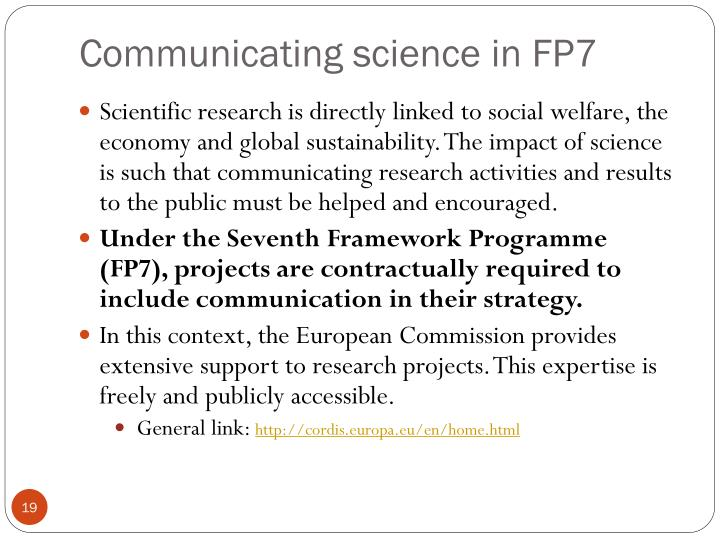 Communicating science in FP7