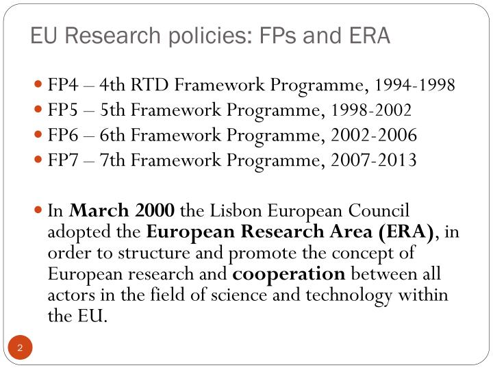Eu research policies fps and era