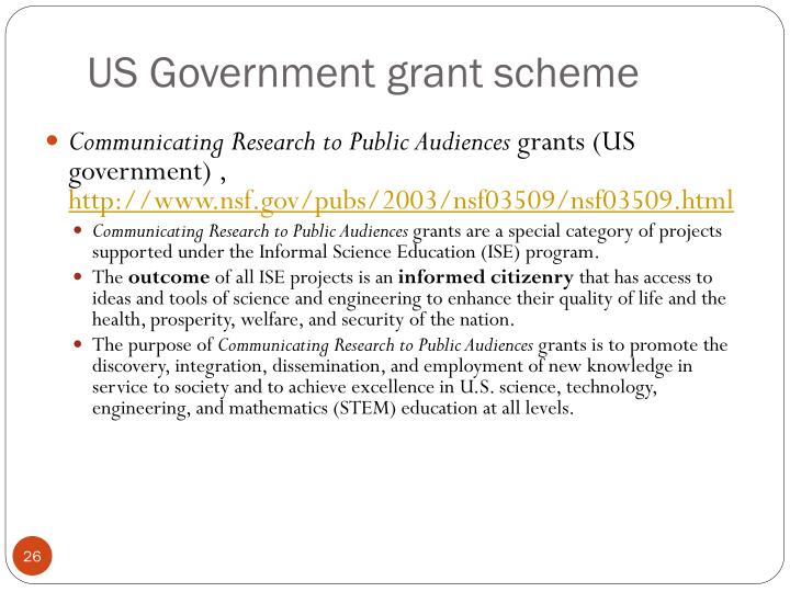 US Government grant scheme
