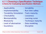 4 11 choosing a specification technique criteria for evaluating specification methods