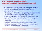 4 3 types of requirements sidebar 4 4 making requirements testable