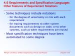4 6 requirements and specification languages other features of requirement notations
