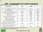 sdl compara es com outras linguagens