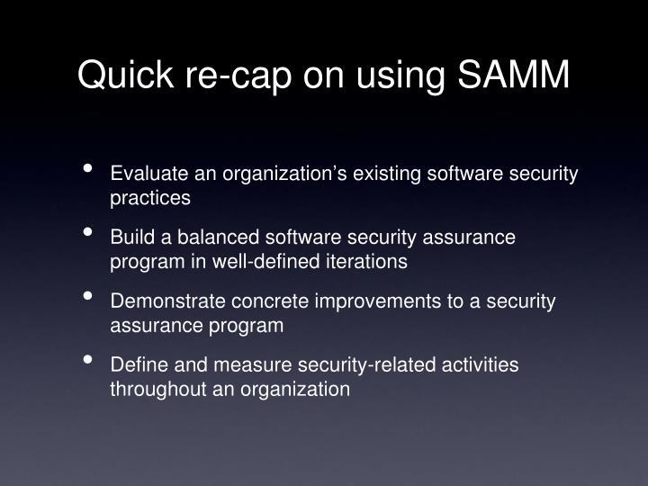 Quick re-cap on using SAMM