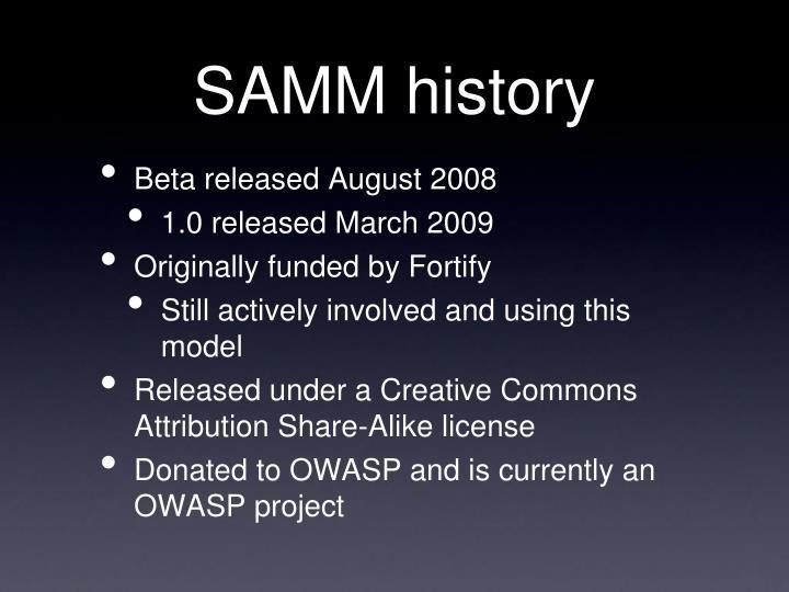 SAMM history
