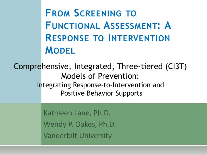 from screening to functional assessment a response to intervention model n.