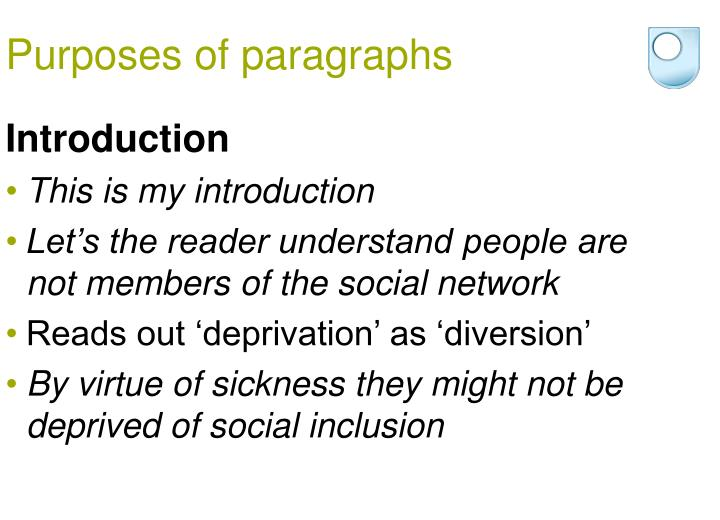 Purposes of paragraphs