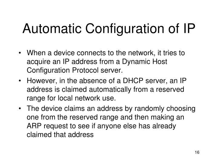 Automatic Configuration of IP
