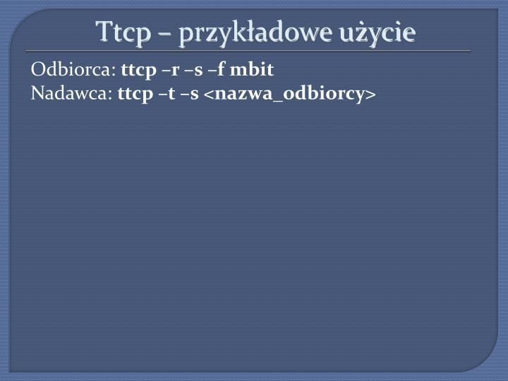 Ttcp – przykładowe użycie