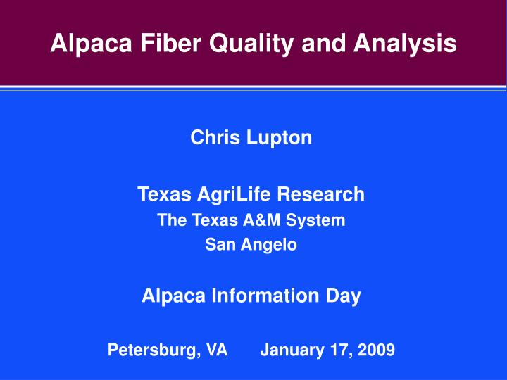 alpaca fiber quality and analysis n.
