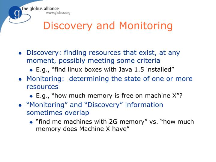 Discovery and monitoring