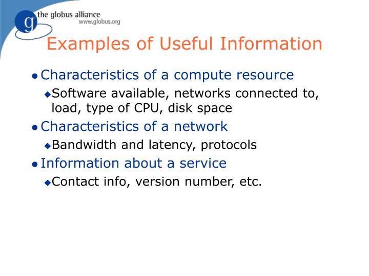 Examples of Useful Information