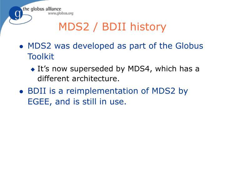 MDS2 / BDII history