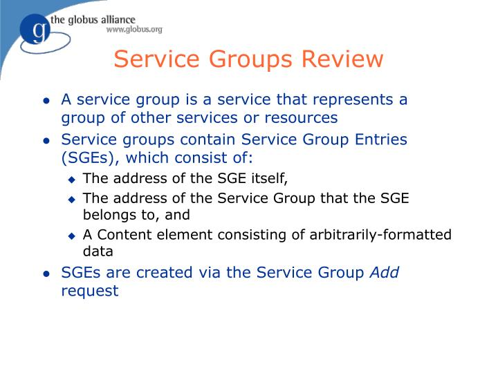 Service Groups Review