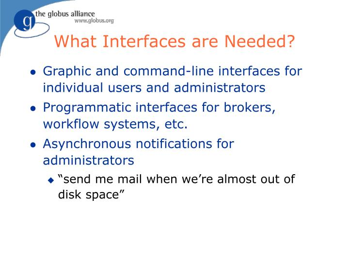 What Interfaces are Needed?