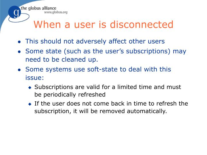 When a user is disconnected