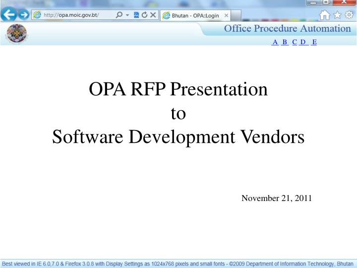PPT - OPA RFP Presentation to Software Development Vendors