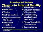 experimental designs threats to internal validity