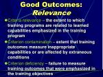 good outcomes relevance