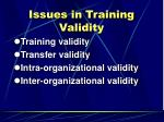 issues in training validity