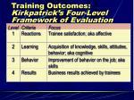 training outcomes kirkpatrick s four level framework of evaluation criteria