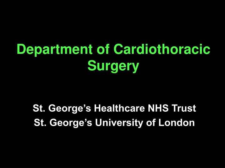 department of cardiothoracic surgery n.