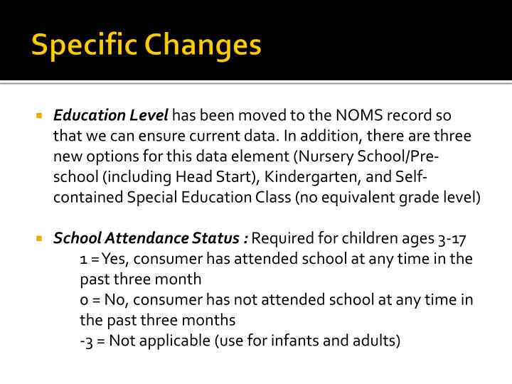 Specific Changes